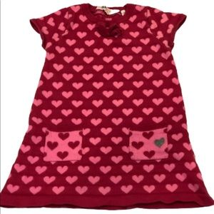 H&M pink red heart sweater dress
